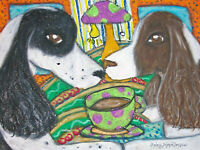 ENGLISH SPRINGER SPANIEL Mad Hatter Tea Party Vintage Art 8 x 10 Signed Print
