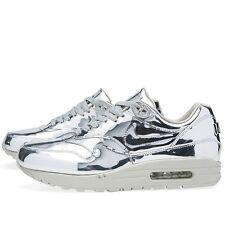 2013 Nike Air Max 1 SP Liquid Metal Silver Mens SZ 9 WMNS SZ 10.5 QS 616170-090