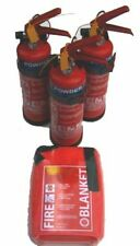 3 x 1kg fire extinguisher & blanket set - canal, cruiser, engine, motorhome
