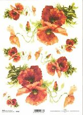 Rice Paper for Decoupage Scrapbooking Poppy Red Flowers A4 ITD R958