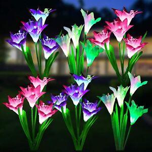 3PACK Solar Power Lily Flower Lights Outdoor Garden Stake LED Landscape Decor