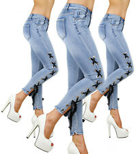 Sexy Stretchy Women's Blue  Jeans Trousers With Side Lace Skinny Slim L 272