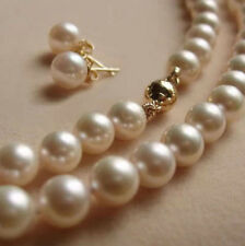 8MM White Akoya shell Pearl Round Beads Necklace + Earring Set AAA 18""