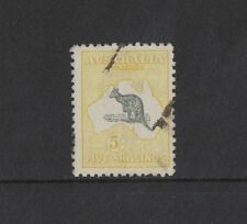1918 Australia Roo 5/- yellow third wmk SG 42 used
