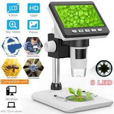 1000x Digital Mikroskop 4.3inch 1080P HD LCD Dispaly Microscope 8LED Lift Stand