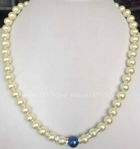 Natural 8mm Light Yellow & 10mm Blue South Sea Shell Pearl Necklace 18'' AAA