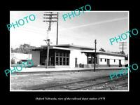 OLD LARGE HISTORIC PHOTO OF OXFORD NEBRASKA, THE RAILROAD DEPOT STATION c1970