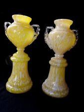 Franz Welz Yellow & White Splatter Glass Trophy Vases ~ Set of 2 1920's Czech
