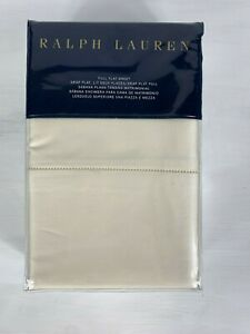 Ralph Lauren Solid Sateen Full Size Flat Sheet Hollywood Cream 100% Cotton $130