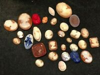 Antique Cameo Lot -  30 Cameos: Shell, Coral, Delft, Glass, MOP, Carnelian