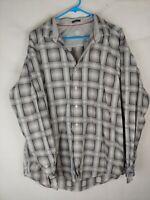 Mens Bugatchi Uomo Classic Fit Plaid Button Up Dress Shirt Size XL