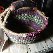 Small Easter African Market Basket Bolga Ghana Kids Storage 7.5'' Leather Handle