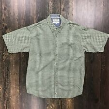 COLUMBIA Gingham Plaid Shirt Large S/S Button-Down Mid-Weight Cotton Green