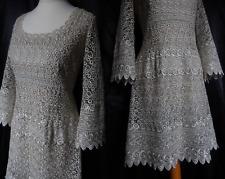 En dentelle Vintage robe or gothique CROCHET années 70 Boho 20 S Clapet ART DECO 10 38 US 6