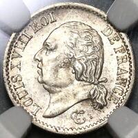 1823-W NGC MS 61 France 1/4 Franc Louis XVIII Silver Coin Rare 16k (20012304C)