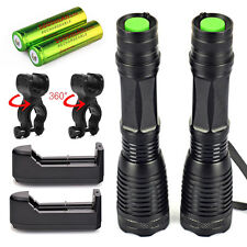 2 x Ultrafire 6000Lumen Tactical T6 LED Flashlight Torch+18650 Battery + Charger