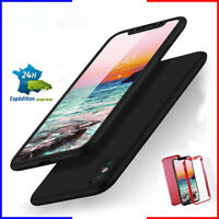 Coque intégrale + verre iPhone i/6/s/s+/7/+/8/8+/x/xs étui housse tel noir/rouge