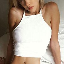 Sexy Women Sleeveless Crop Tops Vest Backless Halter Tank Tops Blouse T-Shirt US