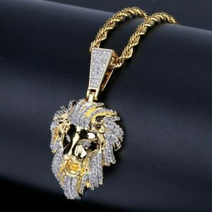 Hip Hop Micro Paved AAA+ Cubic Zirconia Iced Out Bling Gold Male Lion Pendant
