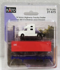 Kato N 31615 White Volvo Highway Tractor Trailer w/ 40' Container & Chassis. New