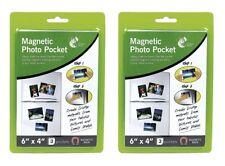 "2 x Packs Of 6 x 4"" Magnetic Photo Pocket Holders For Fridge Freezer 3 Pockets"