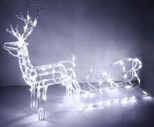 LED 3D Acrylic Reindeer and Sleigh Christmas Lights with 104 LED White Lights