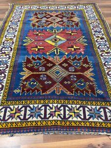 ✔ Kazak | 104 x 143 | Handgeknüpft | Orientteppich | Carpet | Rug