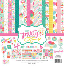 Echo Park - Let's Party 12x12 Scrapbook Kit Papers + Stickers Girl Birthday