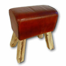 Victorian Stool leather Seat Stool Foot Solid Wood Base Handcrafted