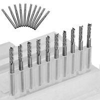 "10x 3.175mm Carbide End Mill 1/8"" Shank Metalworking Tool CNC PCB Engraving Bit"