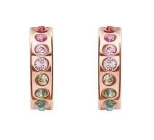 TED BAKER REENI MINI HOOP HUGGIE EARRINGS SWAROVSKI CRYSTAL ROSE GOLD NEW BOXED