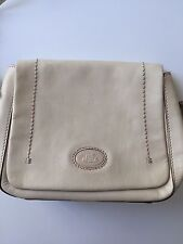 THE BRIDGE WOMEN'S  RARE IVORY LEATHER SHOULDER BAG MADE IN ITALY