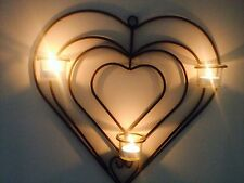 Heart love Sconce Metal 4 Piece Wall art tea-light Candle Holder glass modern t