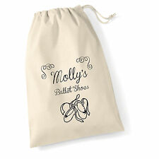 PERSONALISED VINTAGE STYLE GIRLS BALLET COTTON SHOE BAG / SACK 30 X 25 cm