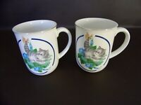 Set of Two Otagiri Japan Kitten With Butterfly Mugs (#14T051)