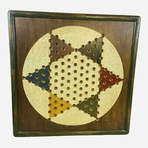 """Vintage Chinese Checkers Wood Game Board Folk Art Rustic Signed 15.5"""" Square"""