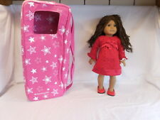 American Girl Doll Brown Curly Hair Dressed + Authentic Retired Carrying Case