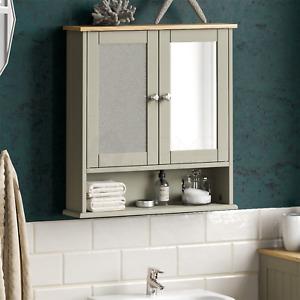 Priano Bathroom Wall Mount 2 Door Mirror Cabinet Unit Strorage With Shelf Grey
