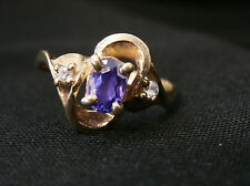 vintage 10k amethyst and white sapphire yellow gold ring make offer! #158