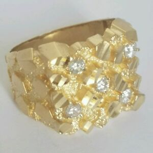 Big Mans solid 14k yellow Gold diamond cut Nugget Ring Size 10 11 12 13
