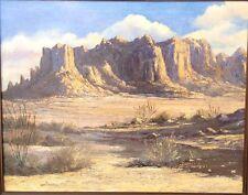 Vintage Desert Landscape Signed Wm Cannon 1963 Impasto Nice Original Frame