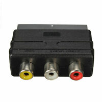 hot SCART Male Plug to 3 RCA Female A/V Audio Video Adaptor Converter for TV VG
