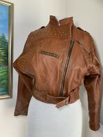 Women's Vintage Biker Jacket Studded Brown Tan  Leather 80's Size Small UK 10-12