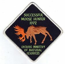 1972 ONTARIO MNR MOOSE HUNTER PATCH-MICHIGAN DNR DEER-BEAR-CREST-BADGE-ELK-FISH