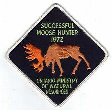 1972 ONTARIO MNR MOOSE HUNTER PATCH-MICHIGAN DNR DEER-BEAR-CREST-BADGE-ELK-FISH
