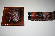 Hand Made Custom Leather Native American Indian w/ Head Dress Grip Cover Set New