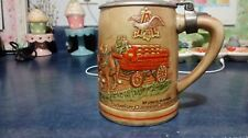 BUDWEISER CHAMPION CLYDESDALES BEER STEIN SMOOTH LID BROWN COLORED RARE