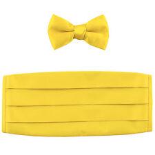 NEW in box 100% polyester boys kids Cummerbund & bowtie set formal yellow