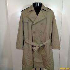 MISTY HARBOR Vtg Long RAINCOAT Rain Trench Coat Mens Size L 44 Beige w/ liner