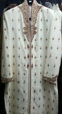 Mens indian ivory cream wedding sherwani maroon bollywood groom